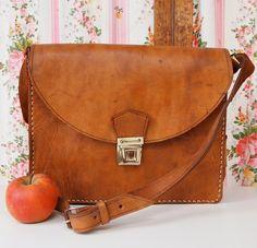 Ludivine, French Vintage, Honey Tan Leather, Satchel, Messenger Handbag from Paris