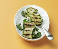 Grilled Zucchini Roll-Ups with Herbs and Cream Cheese (recipe)