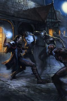 Art by Karl Kopinski - A light mage spools up another spell to fend off the undead Battle Mage, Fantasy Battle, High Fantasy, Fantasy Warrior, Fantasy Rpg, Medieval Fantasy, Fantasy Artwork, Fantasy World, Fantasy Inspiration