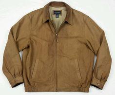 Daniel Cremiux Mens 100% Leather Suede Bomber Brown Full Zip Collar Jacket XL