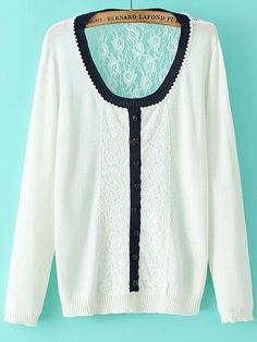 Girl Campu Round Neck Long Sleeve Knit Lace  Pullover Cardigan from fashionmia.com