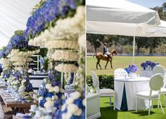 We were honored to be part of this incredibly special Polo inspired baby shower at Will Rogers planned by International Event Company! From mini cakes to the blue and white color scheme carried out in the floral design and accessories, this party was definitely a royal affair.  Our Versailles Dining Tables, Vienna Dining Chairs and Hedge Panels were the foundation for a really spectacular party. This incredible tabletop features the party's blue and white color scheme, which really pops.