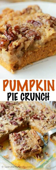 Pumpkin Crunch Cake {Yummy Cake Mix Topping) – Spend with Pennies Pumpkin Pie Crunch is the easiest way to serve pumpkin pie to a crowd! A rich layer of pumpkin pie is topped with pecans and a simple 2 ingredient streusel for the perfect fall dessert! Oreo Dessert, Dessert Parfait, Low Carb Dessert, Pumpkin Dessert, Pumpkin Recipes, Fall Recipes, Sweet Recipes, Holiday Recipes, Weekly Recipes