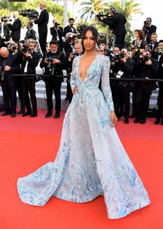 "Jasmine Tookes Photos - Jasmine Tookes attends the screening of ""The Traitor"" during the annual Cannes Film Festival on May 2019 in Cannes, France. - 'The Traitor' Red Carpet - The Annual Cannes Film Festival Zuhair Murad Mariage, Zuhair Murad Bridal, Zuhair Murad Dresses, Jasmine Tookes, Vestidos Vintage, Vintage Dresses, Moda Floral, Red Carpet Dresses, Blue Dresses"