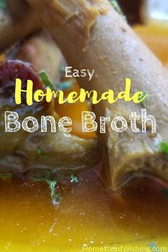 This homemade bone broth is easy and frugal to make. It is delicious all by itself or you can add it to your soups and stews. | homemade-bone-broth, bone broth recipe, how-to-make-bone-broth | Homestead Wishing, Author Kristi Wheeler | http://homesteadwishing.com/homemade-bone-broth/ ‎|