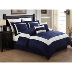 KingLinen 12 Piece King Luke Navy and White Embroidered Bed in a Bag w/600TC Sheet Set