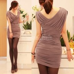 $ 6.25 Sexy Irregular V-neck Ruched Over Hip Sleeveless Cocktail Party Dress