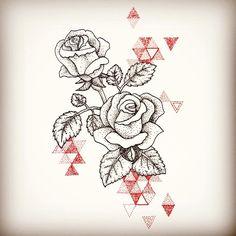 Geometric dotwork roses tattoo design by @rebekkarekkless on Instagram.
