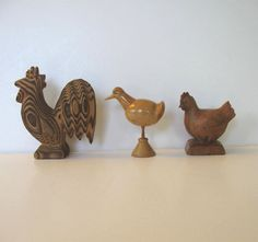 Vintage lot of 3 hancarved wooden Roosters by jewelryandthings2, $19.00