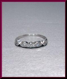 Vintage Platinum Diamond Wedding Band by AntiqueJewelryNyc on Etsy