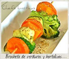 Chefs lunáticas: Brocheta de verduras y hortalizas Skinny Lunch, Chefs, Avocado Toast, Vegetables, Breakfast, Food, Beverages, Skewers, Lunches