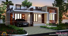 [ Designs Homes Design Single Story Flat Roof House Plans Inspiration Floor Kerala Planner ] - Best Free Home Design Idea & Inspiration Flat Roof House Designs, Flat Roof Design, House Roof Design, Small House Design, Cool House Designs, Modern House Design, Front Design, Design Homes, Cottage Design