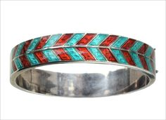 art deco style, in red and turquoise