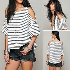Free People Cold Shoulder Stripe Tee Free People. Lightly ribbed stripe oversized tee with cutout shoulders. 100% cotton. Free People Tops