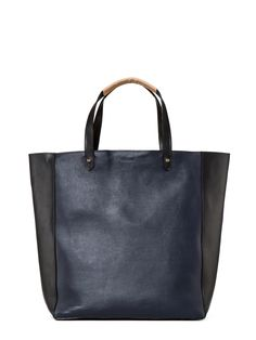 Colorblock - black and navy. Ashleigh Leather Tote | Hunter Boot Ltd