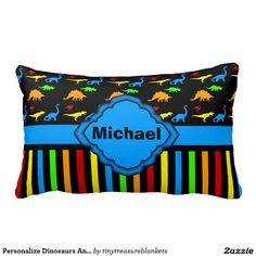 Personalize Dinosaurs And Stripes Baby Pillow