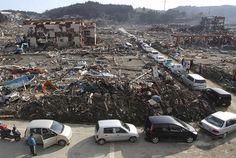 Cars line up for fuel after Japan tsunami and earthquake #japan #tsunami #earthquake