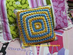 Crochet wiggles square cushion 1