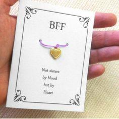 Friendship Card With Heart  Wish Bracelet, Unbiological Sister, Sisterhood, sobriety gift For BFF, Best Friend , Friend,Teens Girls,Birthday by ShirleyLaiterDesigns on Etsy