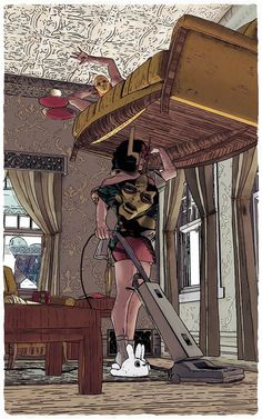 Big Barda vacuuming under Mr Miracle. This Joseph kid has got some chops.