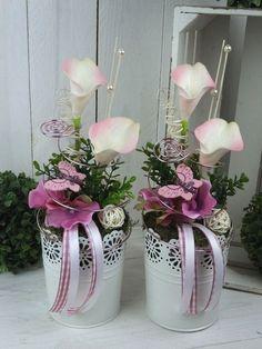 Nylon Flowers, Diy Flowers, Flower Vases, Flower Pots, Calla, Vase Arrangements, Flower Backdrop, Decoration Table, Easter Crafts