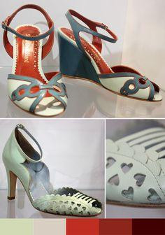 Os sapatos da Sarah Chofakian sempre me chamaram a atenção, cheios de recortes e cores. Os saltos são mais baixos, mais delicados, finos ou anabelas, deixam o sapato charmoso sem matar os pés.