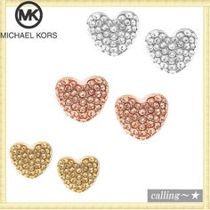 セレブ愛用者多数☆Michael Kors☆ Pave Heart Stud Earrings