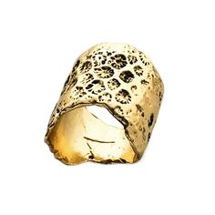 Modern organic ring cast from a piece of coral in antiqued 14k Gold plate over Brass by independent jewelry designer Merewif