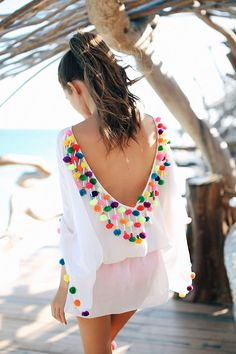 Pom pom coverup by Sundress - swimsuit style Look Fashion, Street Fashion, Fashion Outfits, Womens Fashion, Dress Fashion, Fashion Beauty, Fashion Moda, Vetement Hippie Chic, Southern Curls And Pearls