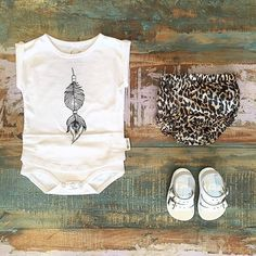 BABY • Feather Drum onesie tee, Children of the Tribe summer safari bloomers & baby Salt Water Sandals. Shop these styles at Tiny Style in Noosa & online •  www.tinystyle.com.au