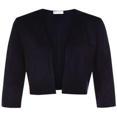 Hobbs Elize Bolero, Navy (235 BRL) ❤ liked on Polyvore featuring outerwear, jackets, navy bolero, hobbs, cropped bolero, blue bolero jacket and blue cropped jacket
