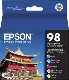Epson - 98 5-Pack High-Yield Ink Cartridges - Cyan/Magenta/Yellow/Light Cyan/Light Magenta (Blue/Pink/Yellow/Light Cyan/Light Magenta), T098920