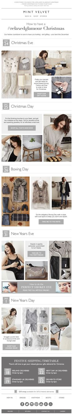 Great Christmas email content from Mint Velvet - How to have a relaxed Christmas Email Design, Web Design, Holiday Emails, Boxing Day, Marketing Ideas, Email Marketing, New Years Eve, New Day, Landing