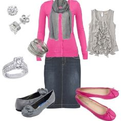 Gray and pink! A fun splash of color for those bleak winter months. :D