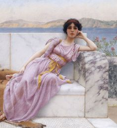 Detail 'Eighty and eighteen', by John William Godward #historyofart #paintingsdaily #arthistory #art