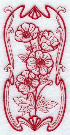 Art Nouveau Anemone (Redwork)