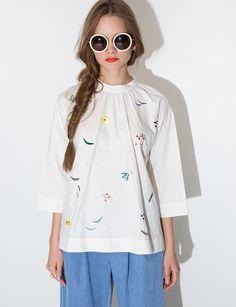 Mika babydoll embroidered shirt