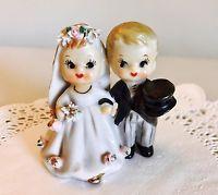 Vintage Lefton Wedding Couple Bell Bride Groom June Figurine Japan