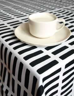 Tablecloth white black stripes lines 37x56 or made by Dreamzzzzz, $25.00