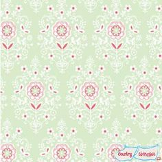 Buttercream Mint Quilt Fabric by Louise Anglicas for Clothworks