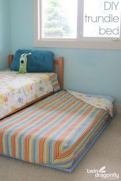 DIY Trundle Bed Tutorial - with do-it-yourself bunky board and furniture sliders