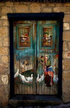 Painted wood hotel door in Turkey. - by Ekrem Nuray Grand Entrance, Entrance Doors, Doorway, Front Doors, Cool Doors, Unique Doors, Knobs And Knockers, Door Knobs, Door Handles