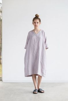 Washed linen KIMONO tunic in ashes of rose / by notPERFECTLINEN