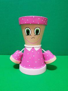 Pink Little Miss Outdoor Garden Decor Gardener Gift Hand Flower Pot People, Clay Pot People, Summer Crafts For Kids, Kids Crafts, Homemade Clay, Painted Plant Pots, Outdoor Garden Decor, Clay Pot Crafts, Clay Dolls