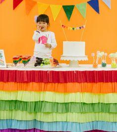 DIY {Rainbow Table Skirt} Rainbow party ideas rainbow table cloth, birthday parties, tabl skirt, diy table skirt, rainbow parti, rainbow birthday, bday parti, crepe, table skirts