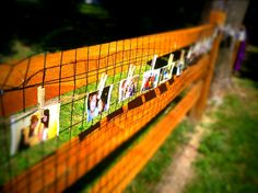 Outdoor wedding shower idea. Pics of couple clothespinned to twine tied to fence. CUTE!!