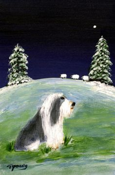 Bearded Collie winter folk art print by Todd Young on Etsy, $13.50