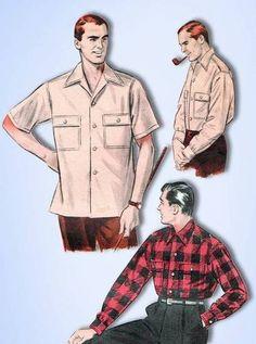 1950s Original Classic Butterick Men's Sport Shirt Pattern Sz Large   eBay