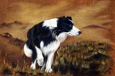 painting: On The Job - border collie sheepdog