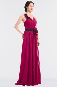 Beetroot Purple Elegant A-line Halter Sleeveless Floor Length Flower Bridesmaid Dresses